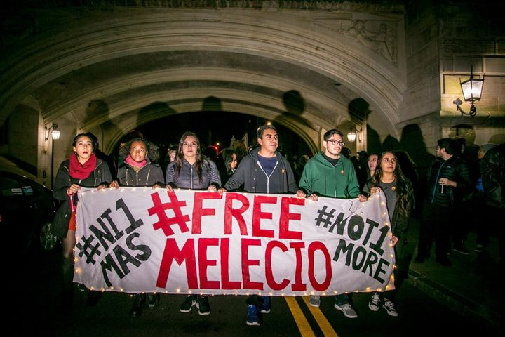 Yale students rally demanding the release of Melecio Morales