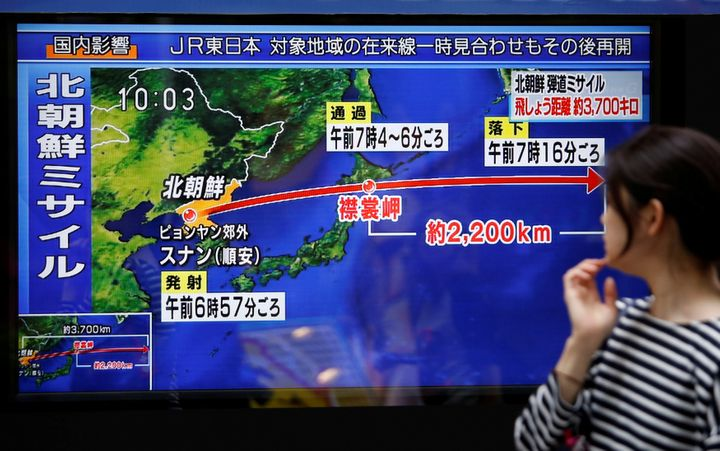 A TV screen in Tokyo shows news about North Korea's missile launch over Japan on Sept. 15, 2017.