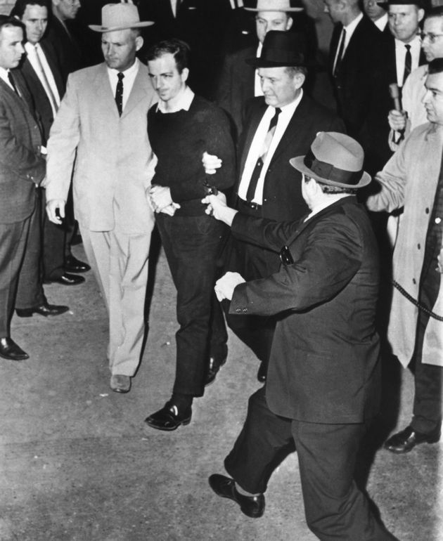 The fatal shooting of Lee Harvey Oswald by nightclub owner Jack Ruby at the Dallas Police