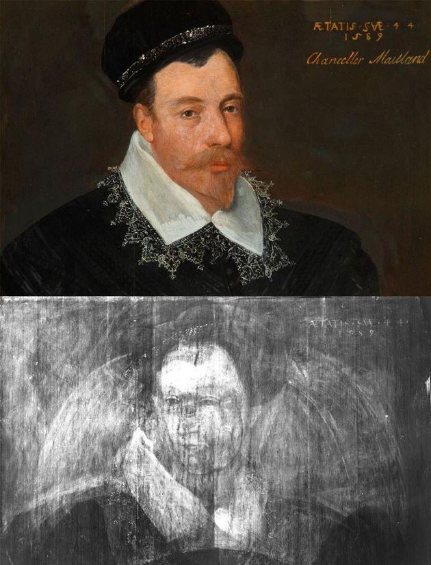 Adrian Vanson'sSir John Maitland, 1st Lord Maitland of Thirlestane(1589) and an X-ray...
