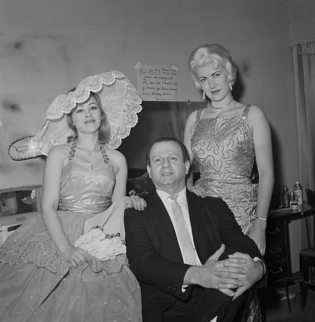 Nightclub owner Jack Ruby seen with two unidentified members of his burlesque