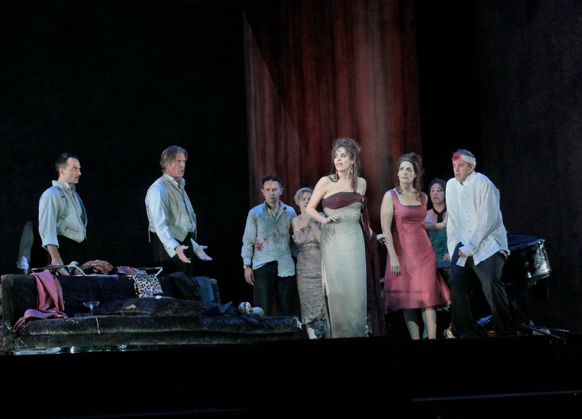 From left, David Adam Moore, Rod Gilfry, Iestyn Davies, Sally Matthews, Audrey Luna, Amanda Echalaz, Christine Rice, and Jose