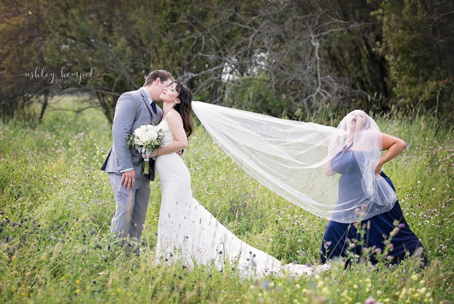 Bridesmaid Hilariously Upstages Newlyweds In Wedding