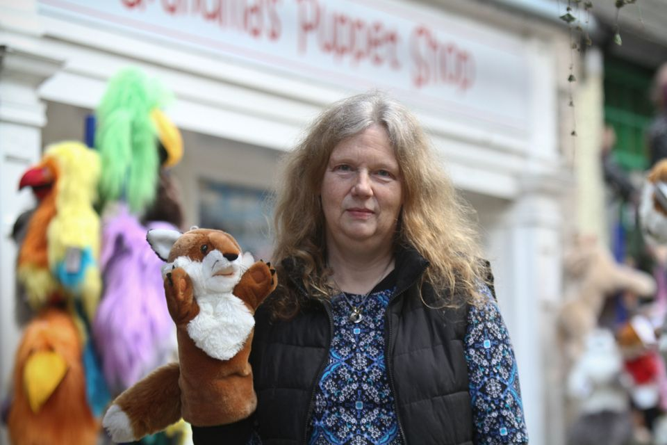 Nicola Smith sells animal puppets and other toys from a shop just off Kendal high