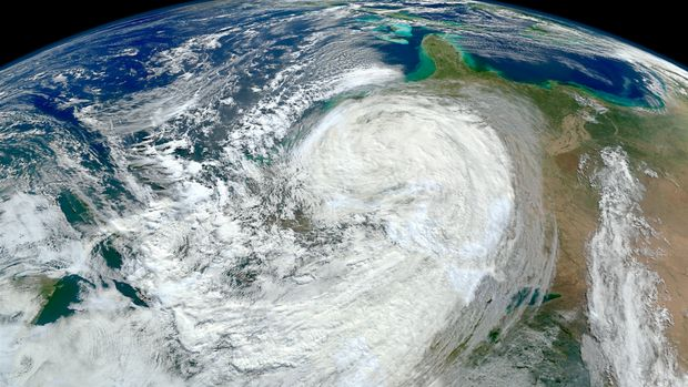 October 30, 2012 - As the large Hurricane Sandy moved north along the U.S. East Coast, the waves it generated churned up sediments from the continental shelf and left turbid water in its wake.
