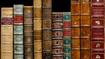 'A row of antique books dating from 1838 to c1890'sBound in leatherEliza Fanny Pollard(1840aa1911)Friend, Hilderic, 1852- 1940 (Flowers and their story)R. M. Ballantyne (1825 aa 1894William Paley 1743 aa 1805William Cowper 1731 aa 1800Sir Walter Scott 1771 aa 1832 (Prose Works)Robert Smith Surtees 1805 aa 1864'