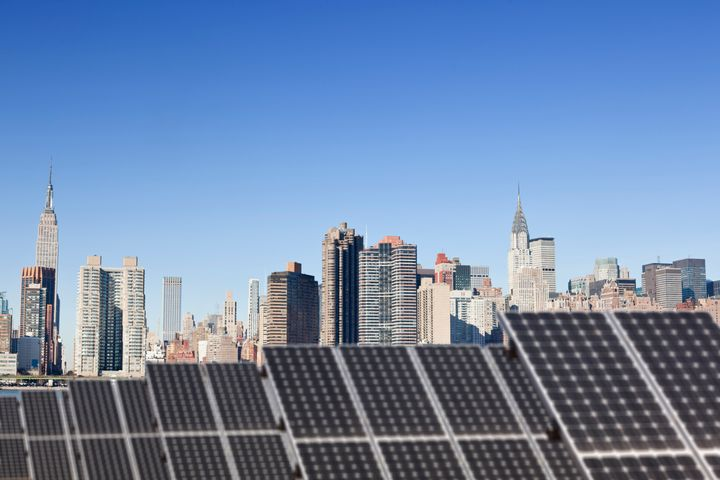 A rooftop solar installation across the East River from midtown Manhattan.