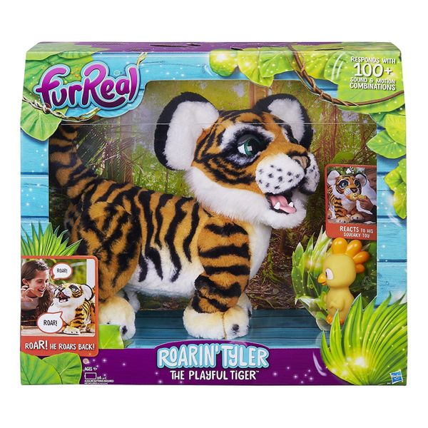 """This adorable yet smart tiger pet <a href=""""https://www.amazon.com/FurReal-Roarin-Tyler-Playful-Tiger/dp/B01N39LX3X?tag=thehuf"""