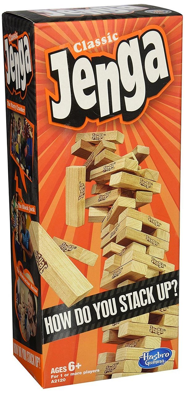"""You can't go wrong with this <a href=""""https://www.amazon.com/Hasbro-A2120-Jenga-Classic-Game/dp/B00ABA0ZOA/ref=zg_bs_toys-and"""