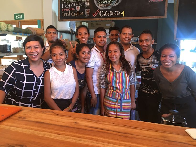 Founder and CEO Alva Lim (far left) together with her team at Agora Food Studio in Dili, Timor-Leste.