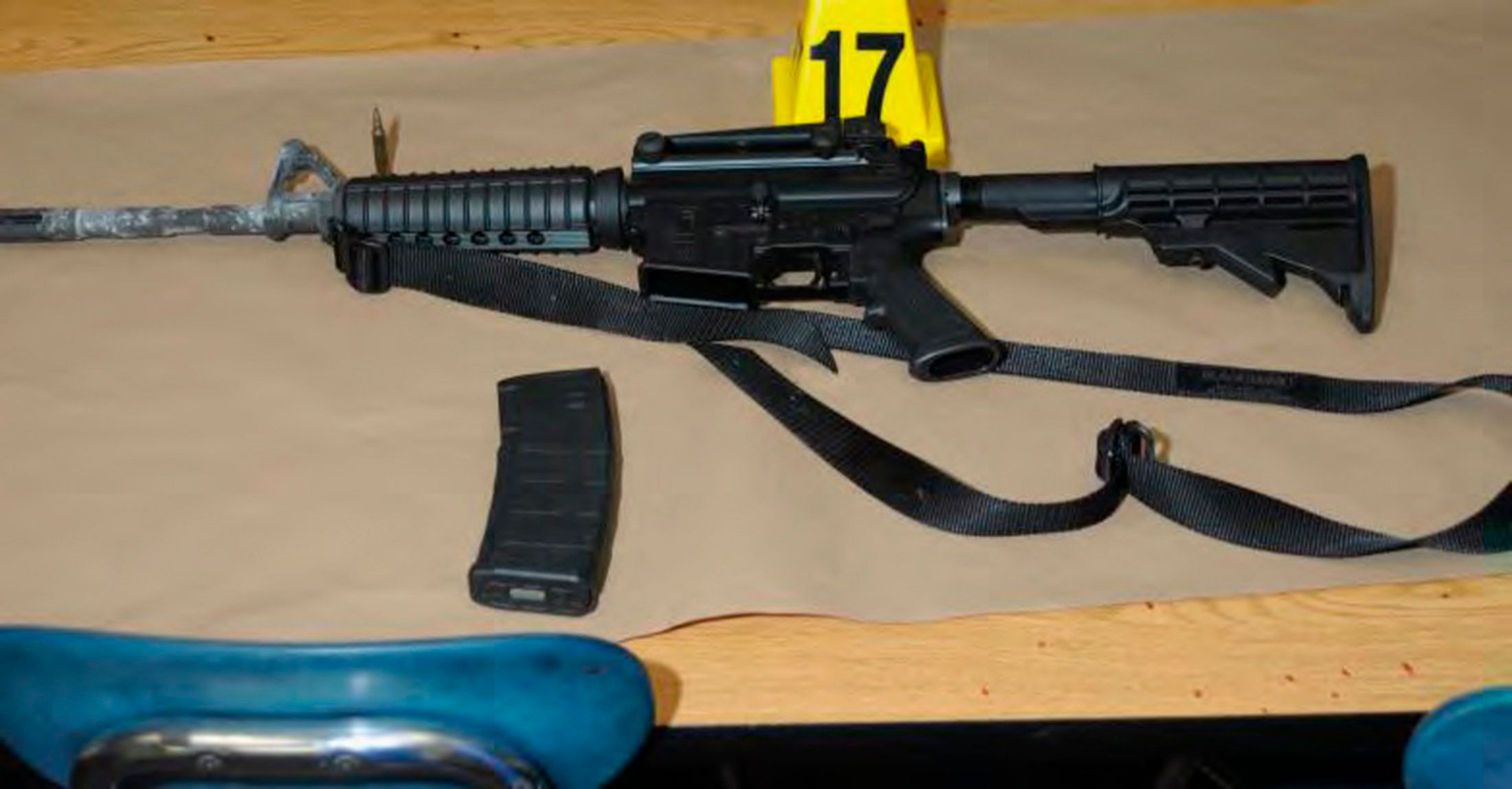 A Bushmaster rifle belonging to Sandy Hook Elementary school gunman Adam Lanza in Newtown, Connecticut is seen after its recovery at the school in this police evidence photo released by the state's attorney's office on November 25, 2013.   REUTERS/Connecticut Department of Justice/Handout via REUTERS   ATTENTION EDITORS - THIS IMAGE WAS PROVIDED BY A THIRD PARTY. EDITORIAL USE ONLY
