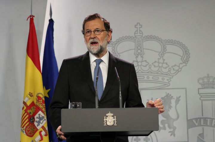 Spain's Prime Minister Mariano Rajoy delivers a statement after an extraordinary Cabinet meeting at the Moncloa Palace in Mad