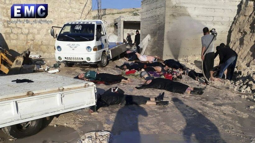 Victims of sarin attack in the town of Khan Sheikhoun, northern Idlib province, Syria