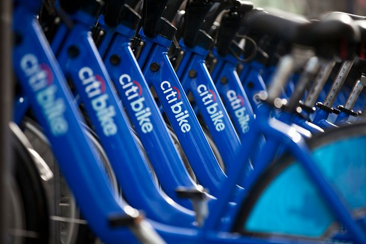 A row of Citibikes stationed at downtown bike-sharing location in New York City.