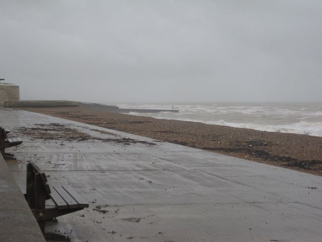 Seaford seafront in East Sussex, as people in a coastal town have been advised to stay in and keep doors...