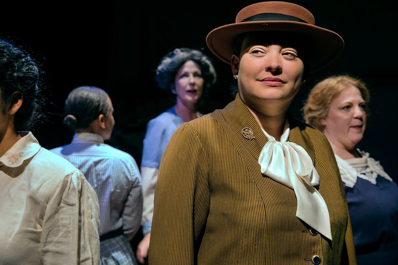 Milissa Carey, Renee Rogoff, and Gwen Loeb, portray some early 20th century suffragists in <em><strong>Strange Ladies</strong