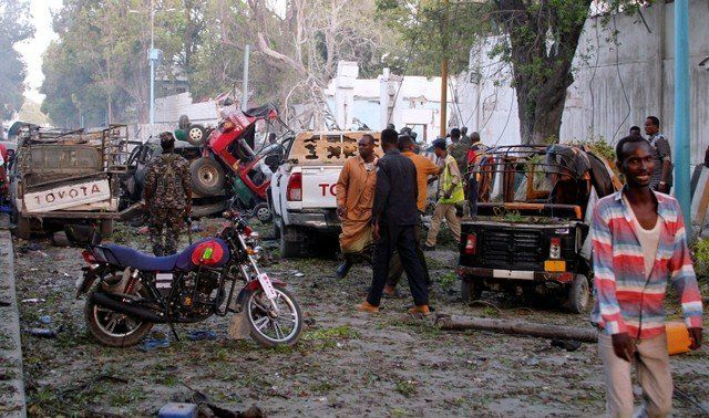 A general view shows the scene after a suicide car bomb explosion at the gate of Naso Hablod Two Hotel in Hamarweyne district of Mogadishu Somalia October 28 2017