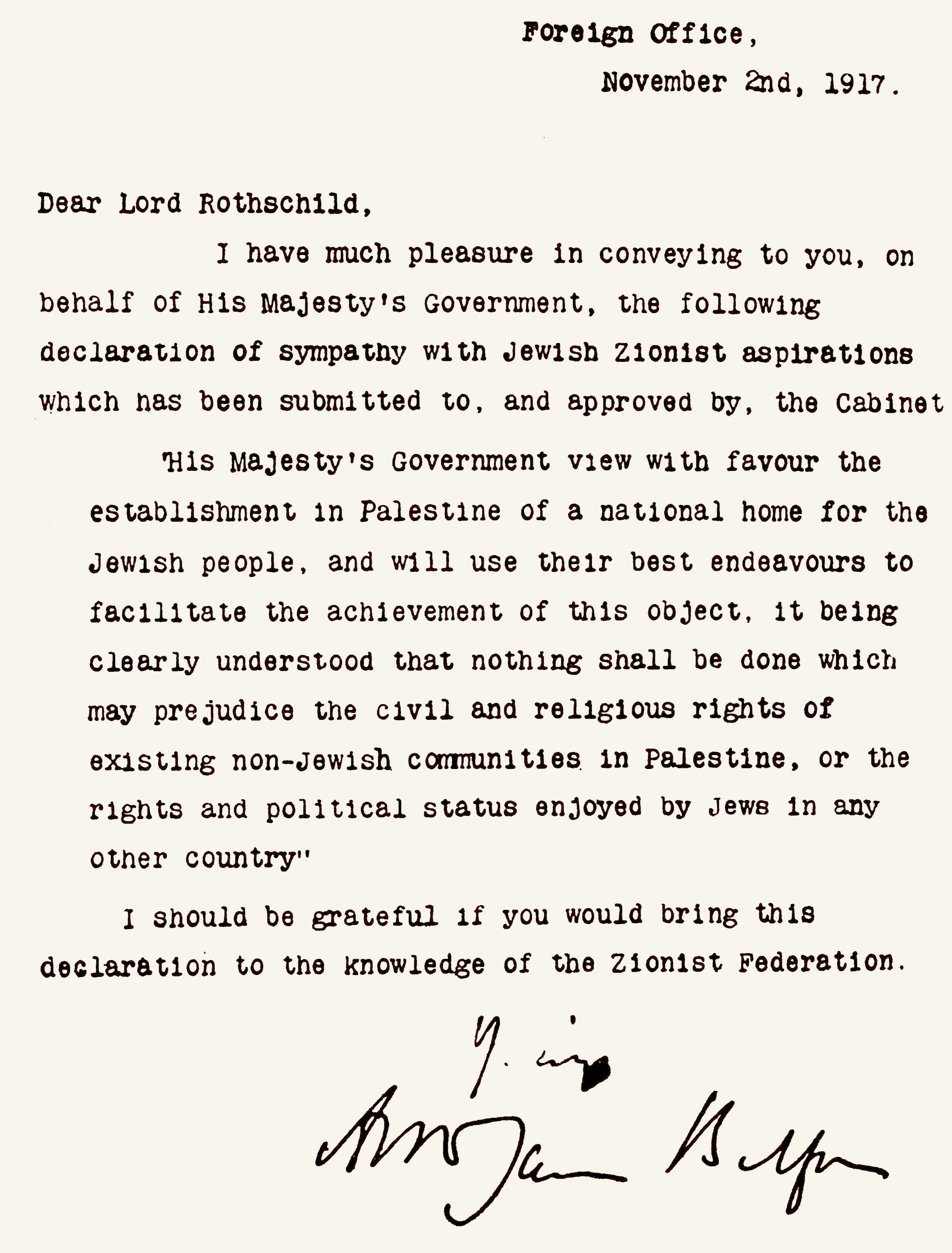 The Balfour Declaration, a letter from the United Kingdom's Foreign Secretary Arthur James Balfour. Dated 1917. (Photo by Universal History Archive/UIG via Getty Images)