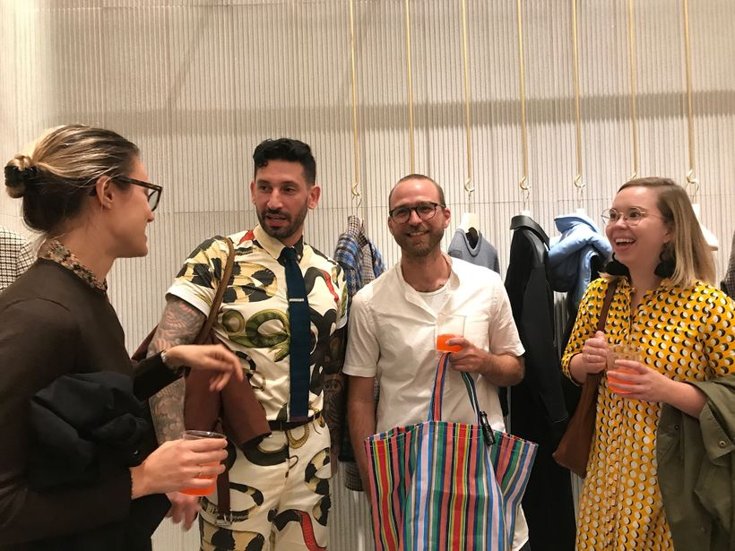 I'm wearing my Bolt Threads tie, Brave GentleMan outfit, chatting with guests from Best Made and Refinery 29 at the Stella Mc