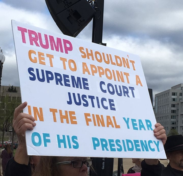 A protest sign at a DC rally prior to the confirmation vote on Neil Gorsuch