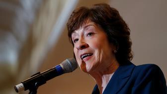 U.S. Senator Susan Collins speaks at the Penobscot Bay Regional Chamber of Commerce's Quarterly Business Breakfast in Rockport, Maine, U.S., October 13, 2017. REUTERS/Joel Page