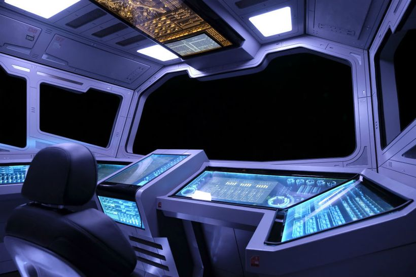 Inside a spacecraft on the journey to Mars in the National Geographic Channel's <em>Mars</em> television series.