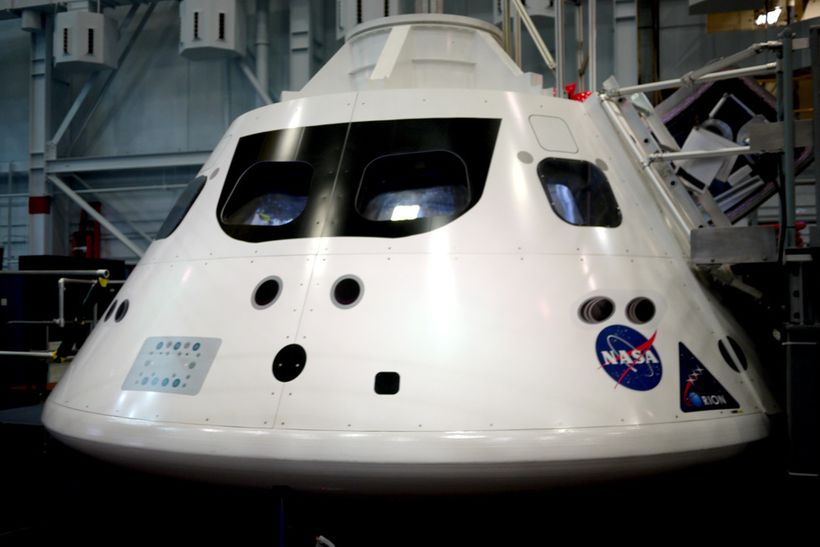 A mockup of the Orion crew capsule at NASA's Johnson Space Center Space Vehicle Mockup Facility.