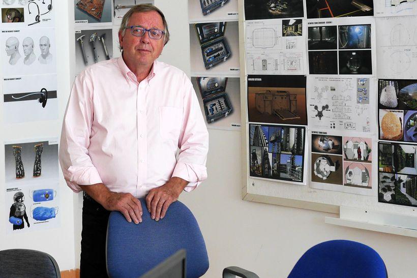 Stephen L. Petranek in the design center for the second season of <em>Mars</em> at Korda Studios in Hungary.