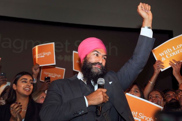 Jagmeet Singh celebrates his win as leader of the New Democratic Party on Oct. 1.