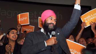 TORONTO, ON - OCTOBER 1  -  New Democrats have chosen Jagmeet Singh as their new leader, October 1, 2017. Singh scored a solid victory in the first round of voting for a new NDP leader, with 53.6 per cent of voters placing him at the top of their ranked ballot in results that were unveiled at a waterfront hotel Sunday afternoon.        (Andrew Francis Wallace/Toronto Star via Getty Images)