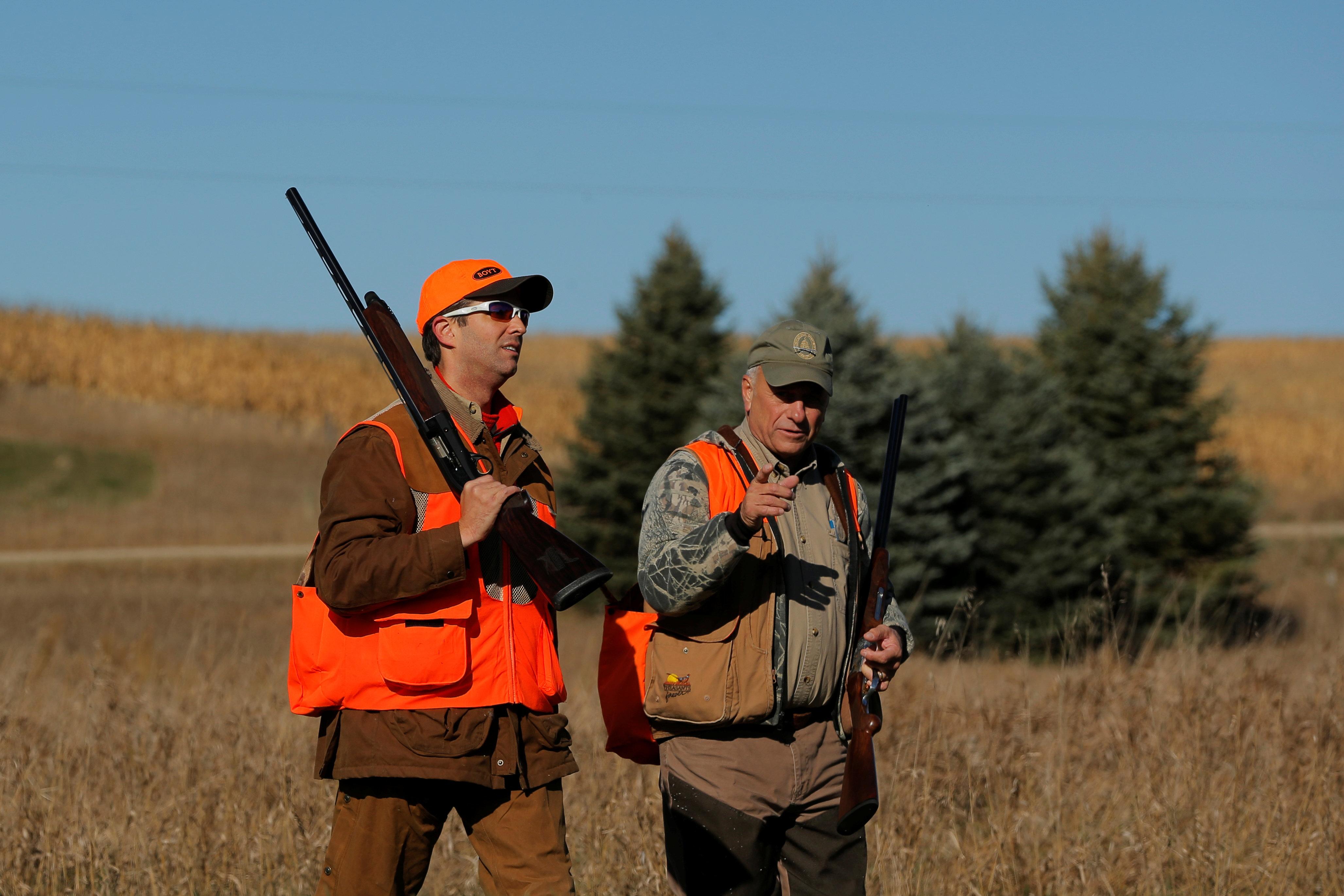 Donald Trump Jr and Rep Steve King R-Iowa on a peasant/pheasant hunt in Iowa