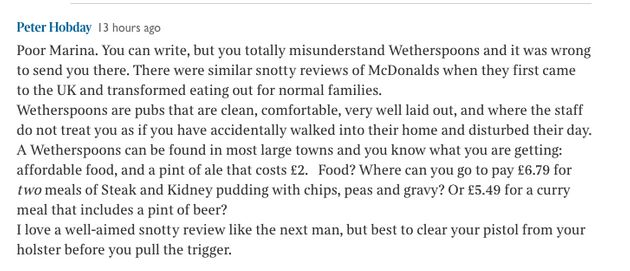 Wetherspoon's Gets Withering Sunday Times Review And It's Made People