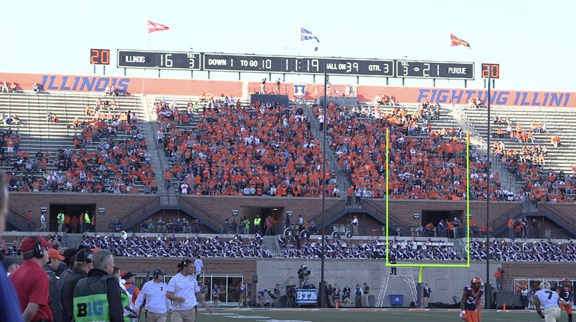 The student section in the Memorial Stadium north end zone, 2016