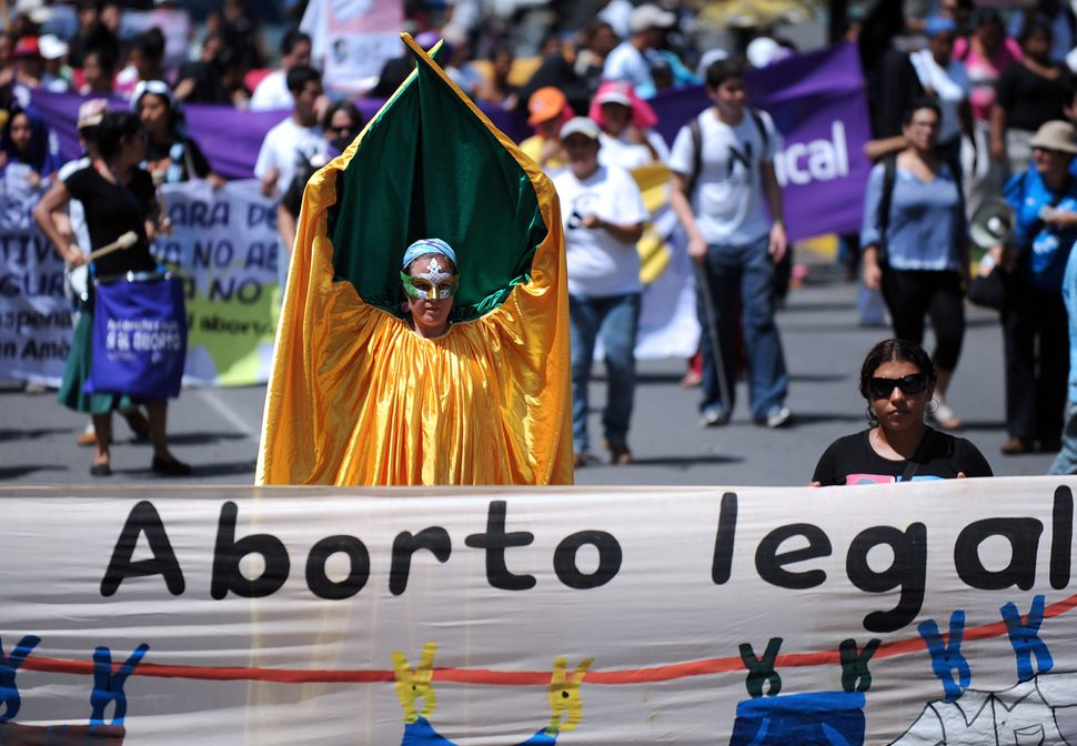 Nicaraguan activists take part in a protest in favor of the legalization of abortion.Managua, 2011.
