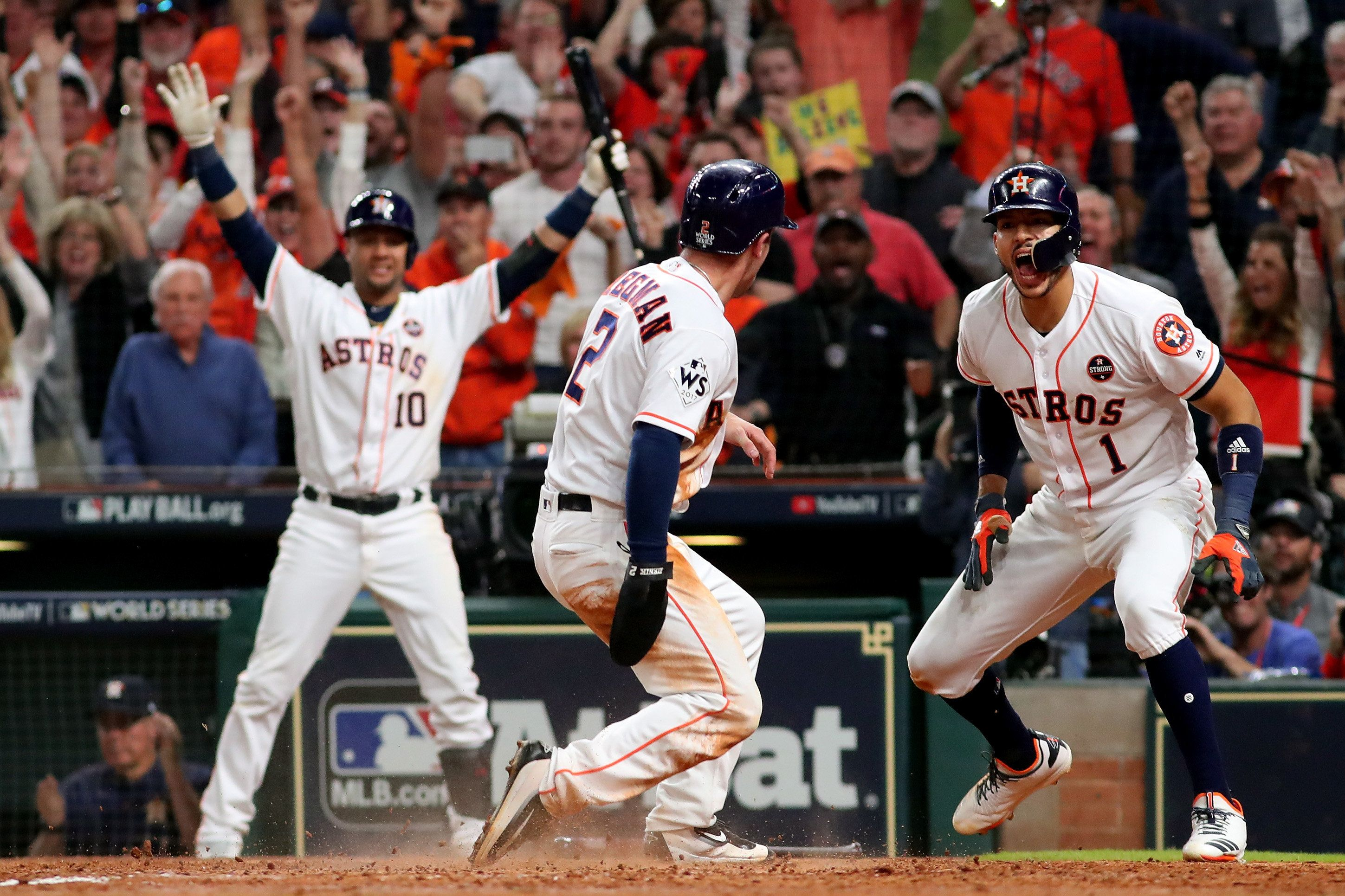 The Houston Astros celebrate during game five of the 2017 World Series against the Los Angeles Dodgers.