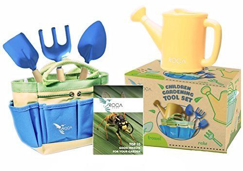 """These garden tools for kids feature <a href=""""https://www.amazon.com/Gardening-Learning-ROCA-Summer-Outdoor/dp/B014G1PFTE?tag="""