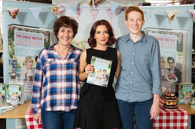 Jane Beedle (left) with her fellow 2016 'Bake Off' finalists, winner Candice Brown and Andrew