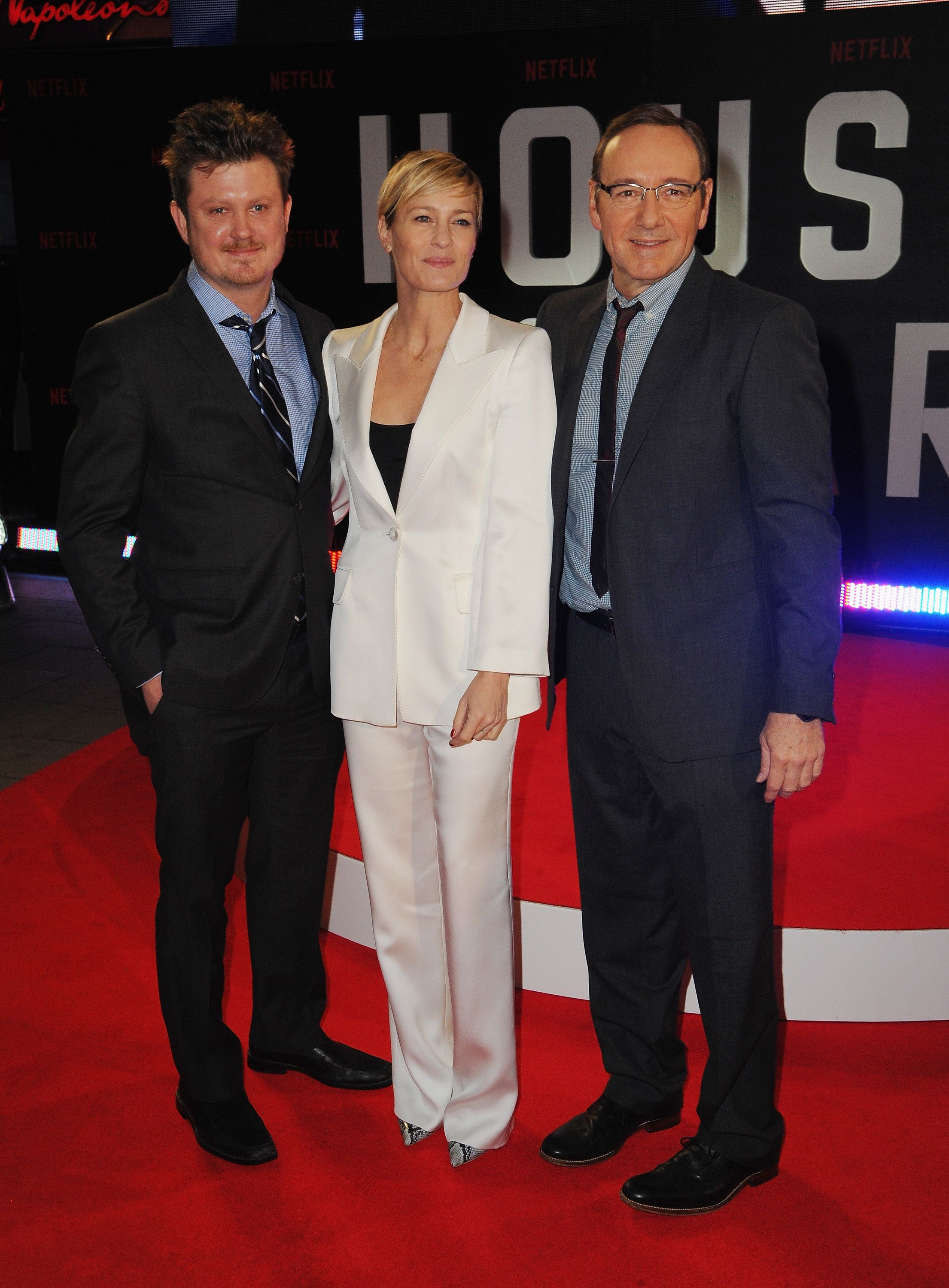 LONDON, ENGLAND - FEBRUARY 26:  Beau Willimon, Robin Wright and Kevin Spacey attend the World Premiere of 'House of Cards' Season 3 at The Empire Cinema on February 26, 2015 in London, England.  (Photo by Dave J Hogan/Getty Images)