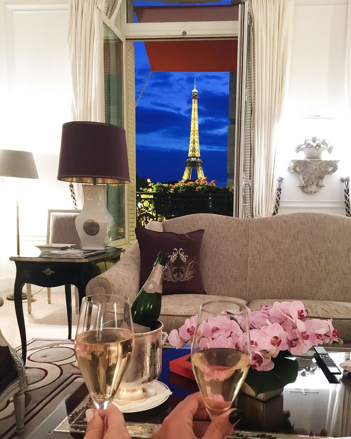 <p>Night views from Eiffel Suite, at Hotel Plaza Athenee</p>
