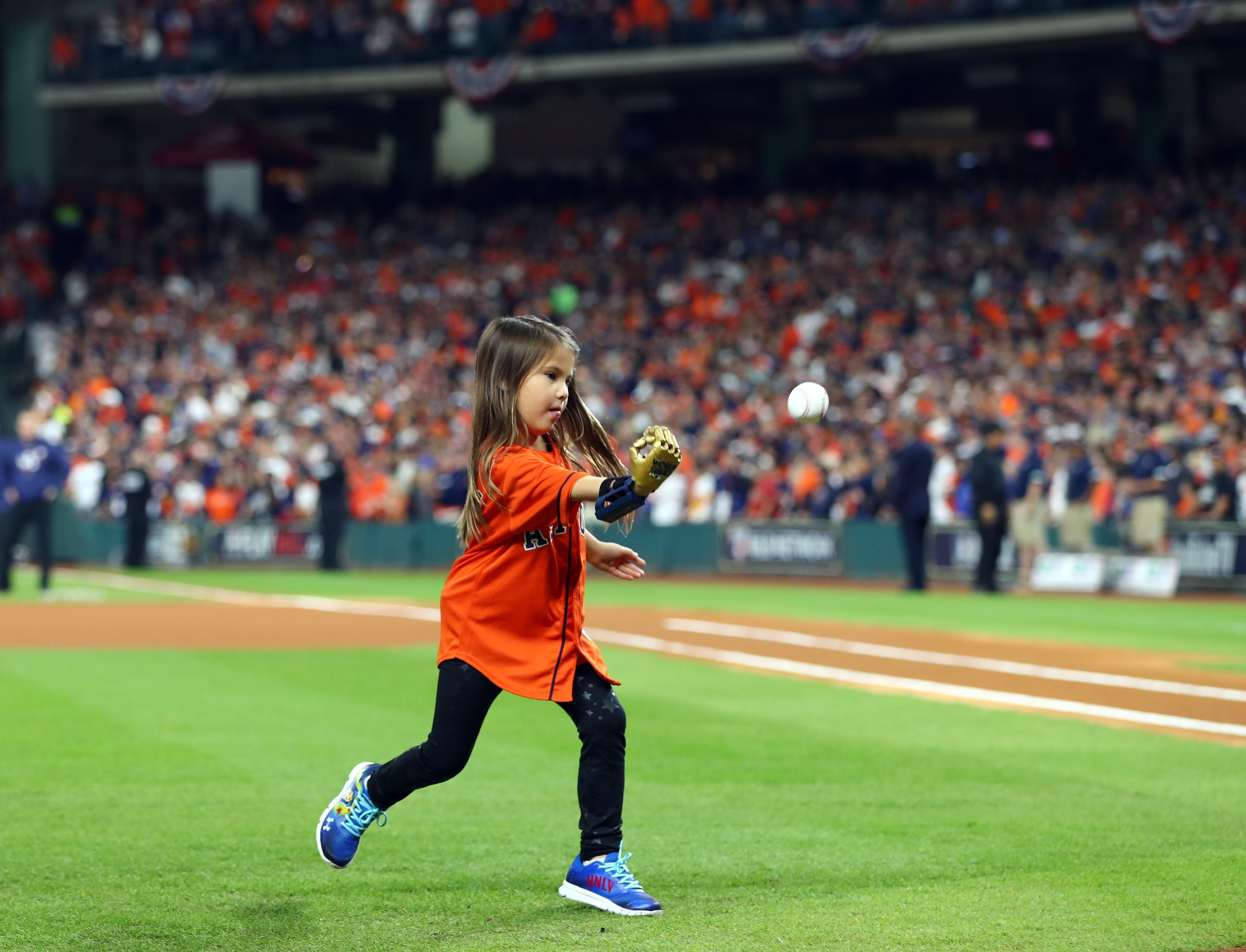 HOUSTON, TX - OCTOBER 28:  Hailey Dawson throws out the ceremonial first pitch before Game 4 of the 2017 World Series between the Los Angeles Dodgers and the Houston Astros at Minute Maid Park on Saturday, October 28, 2017 in Houston, Texas. (Photo by Alex Trautwig/MLB Photos via Getty Images)