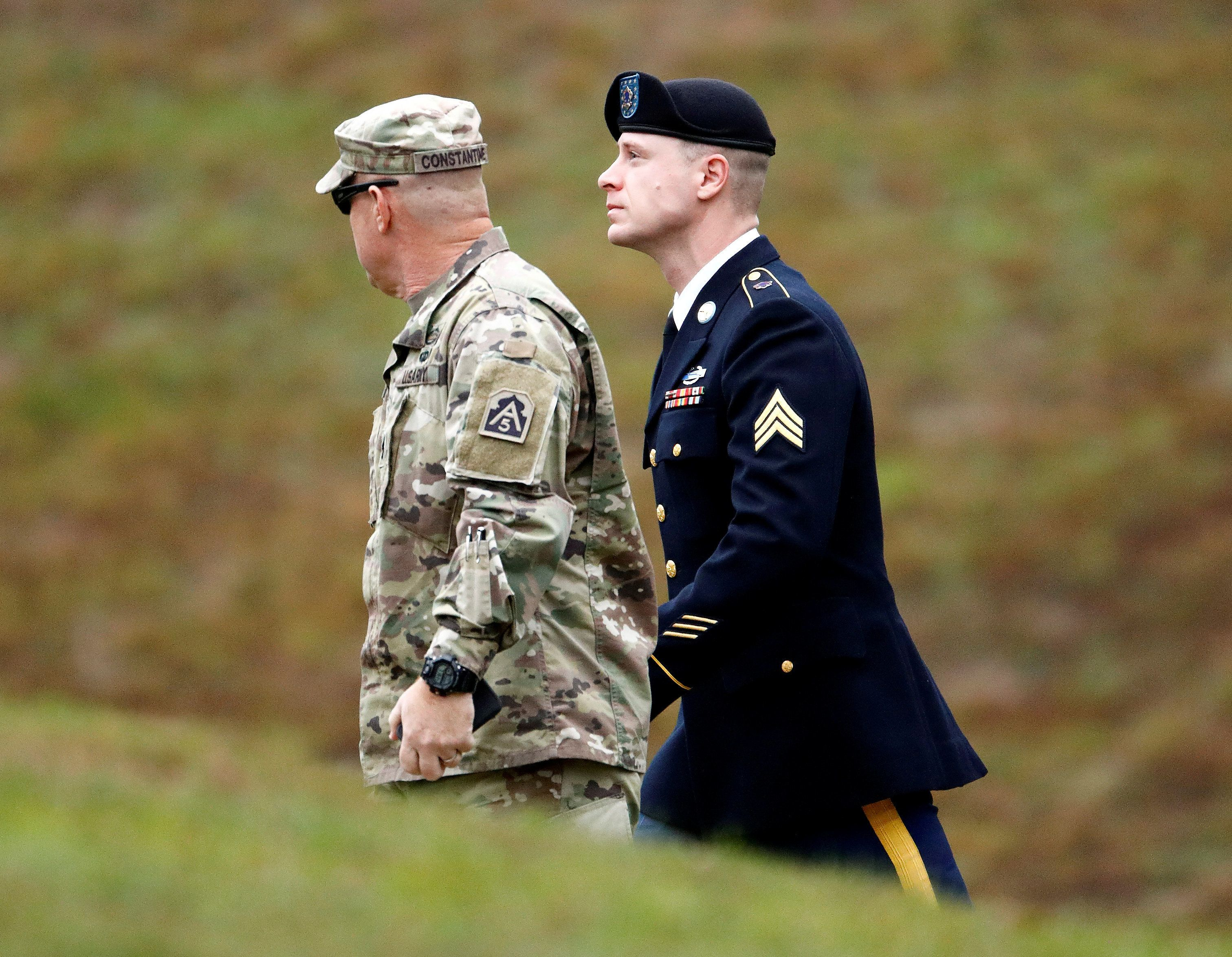 U.S. Army Sergeant Bowe Bergdahl (R) is escorted as he arrives at the courthouse for the start of sentencing proceedings in his court martial at Fort Bragg, North Carolina, U.S., October 23, 2017.  REUTERS/Jonathan Drake     TPX IMAGES OF THE DAY