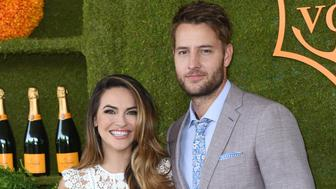 Justin Hartley and fiance Chrishell Stause attend the 8th annual Veuve Clicquot Polo Classic at the Will Rogers State Historic Park in Pacific Palisades, on October 14, 2017. / AFP PHOTO / CHRIS DELMAS        (Photo credit should read CHRIS DELMAS/AFP/Getty Images)