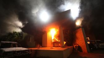 The U.S. Consulate in Benghazi is seen in flames during a protest by an armed group said to have been protesting a film being produced in the United States September 11, 2012. REUTERS/Esam Al-Fetori/File Photo