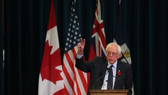 TORONTO, ON- OCTOBER 29  -  American Senator Bernie Sanders talks at Convocation Hall to talk about Canadian healthcare at the University of Toronto  in Toronto. October 29, 2017.        (Steve Russell/Toronto Star via Getty Images)