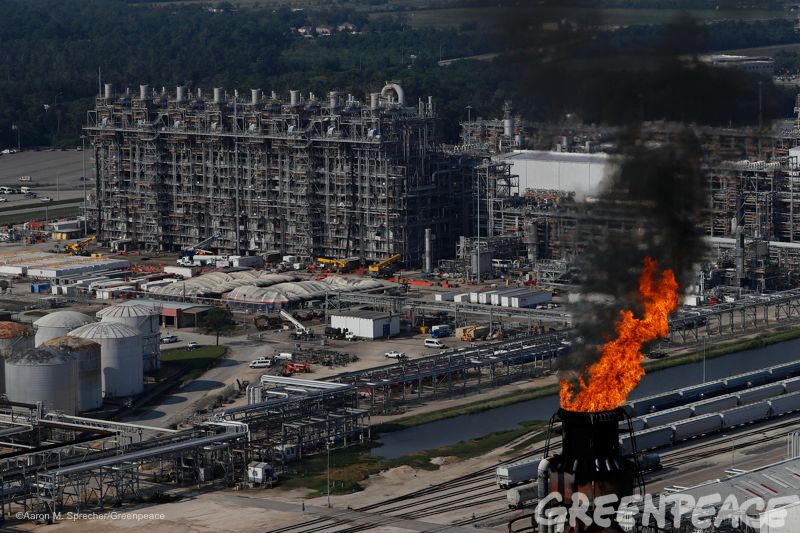 """A flare burns at an oil refinery in Baytown, Texas more than a week after Hurricane Harvey ravaged the area. <a rel=""""nofollow"""