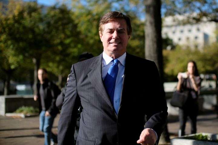 Former Trump 2016 campaign chairman Paul Manafort leaves U.S. federal court on Oct. 30.