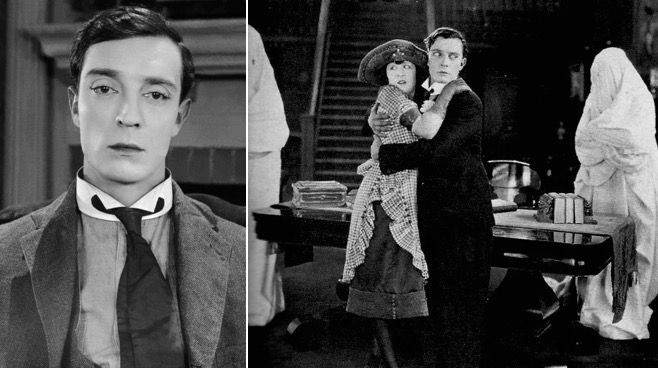 <p>THE HAUNTED HOUSE (1921). Buster Keaton and Virginia Fox.</p>