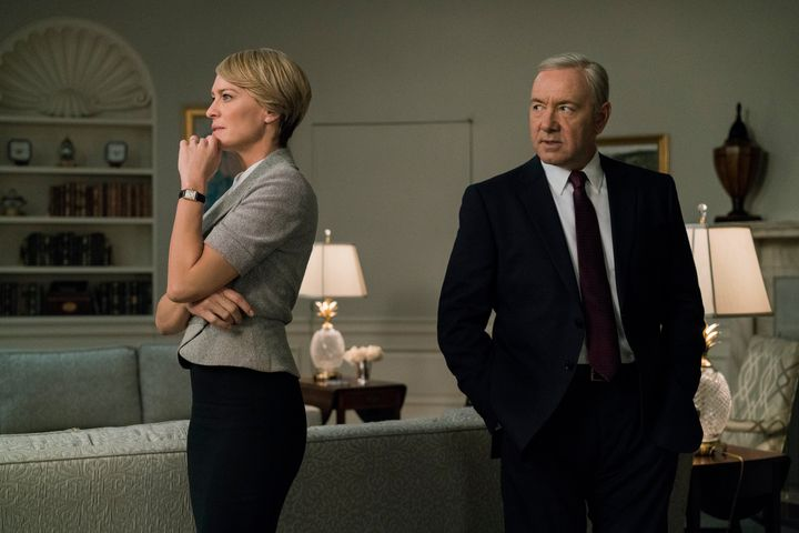 "Robin Wright and Kevin Space in Season 5 of ""House of Cards."""