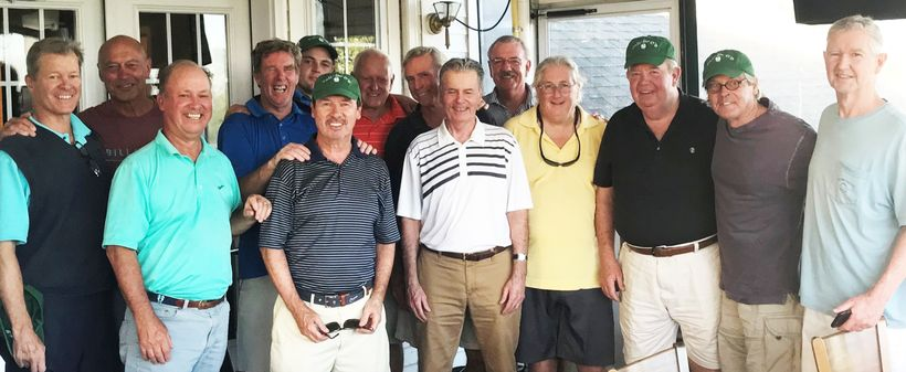 (Band of Brothers, Sterling Farms Golf Course, Stamford, CT., standing as one. Greg O'Brien is second from right.)