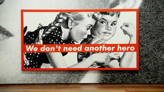 WASHINGTON, DC - SEPTEMBER 28:  A detail from artist Barbara Kruger's 'The future belongs to those who can see it' at National Gallery of Art on September 28, 2016 in Washington, DC.  (Photo by Shannon Finney/Getty Images)